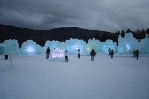 Colorful light in the ice castles